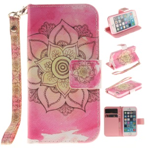 Stand Leather Wallet Pattern Printing Case for iPhone SE/5s/5 with Wrist Strap - Henna Lotus