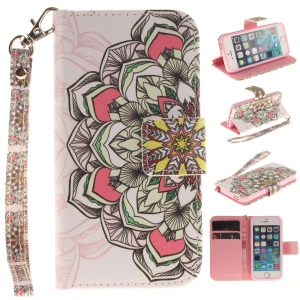 Patterned Folio Leather Wallet Stand Cover for iPhone SE/5s/5 with Wrist Strap - Colored Henna Flower