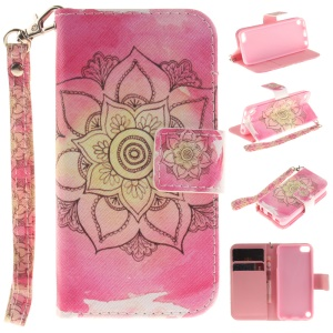 Leather Stand Phone Case with Card Slots for iPod Touch 6 - Henna Lotus