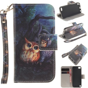 Leather Wallet Case Protector for iPod Touch 6 - Two Owls on Branch Painting