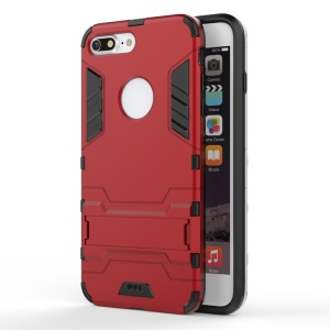 Solid PC + TPU Hybrid Cover Case with Kickstand for iPhone 7 Plus - Red
