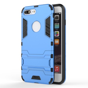 Solid PC + TPU Hybrid Shell with Kickstand for iPhone 7 Plus - Baby Blue