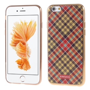 XINCUCO for iPhone 6s Plus/6 Plus Check Plating TPU Soft Cover - Orange / Yellow