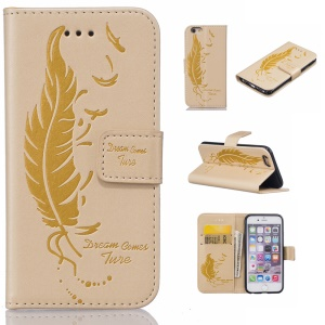 Imprint Feather Pattern Wallet Leather Stand Case for iPhone 6s 6 - Yellow