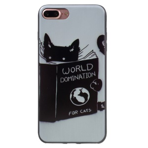 Stylish Patterned Flexible TPU Phone Cover for iPhone 7 Plus 5.5 inch - World Domination for Cats