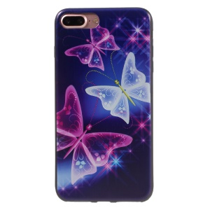Stylish Patterned Gel TPU Back Cover for iPhone 7 Plus 5.5 inch - Translucent Butterflies
