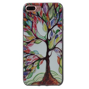 Stylish Patterned Flexible TPU Skin Back Shell for iPhone 7 Plus 5.5 inch - Oil Painting Tree