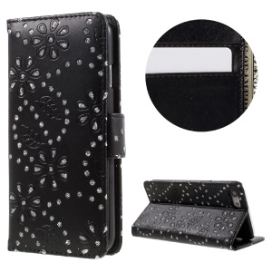 Glittery Powder Floral Pattern Leather Wallet Case for iPhone 7 - Black