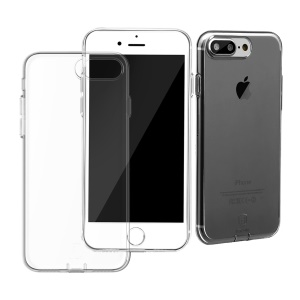 BASEUS Simple Series for iPhone 7 Plus Clear TPU Case with Dust Plug - Black