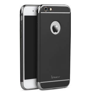 IPAKY 3-In-1 Electroplating PC Hard Back Cover for iPhone 6 / 6S - Black