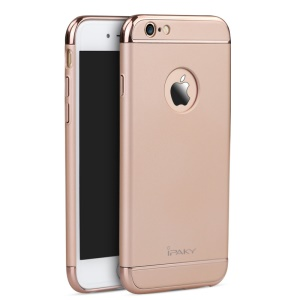 IPAKY 3-in-1 Electroplating PC Hard Shell Case for iPhone 6 Plus / 6S Plus - Rose Gold