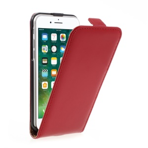 Vertical Flip Split Leather Shell for iPhone 7 4.7 inch - Red