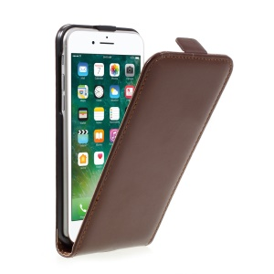 Split Leather Vertical Flip Cover Protector for iPhone 7 4.7 inch - Brown