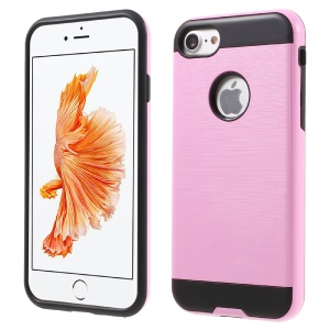 Brushed PC + TPU Combo Cover for iPhone 8/7 4.7 inch - Pink