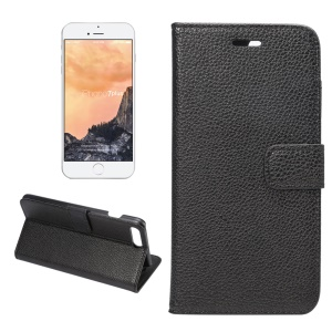 Litchi Grain Stand Wallet Leather Case for iPhone 7 Plus - Black