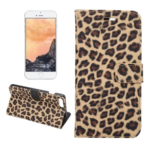 Leopard Pattern Wallet Leather Stand Cover for iPhone 7 Plus - Brown