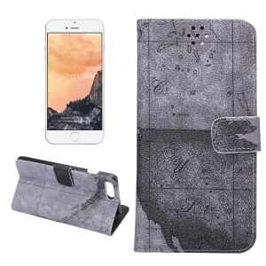 Map Pattern Stand Leather Phone Case with Card Slots for iPhone 7 Plus - Grey