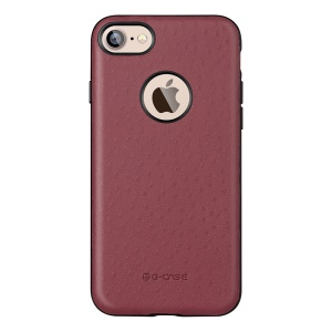 G-Case Ostrich Skin Leather Coated Hard Back Case for iPhone 7 4.7 Inch - Red