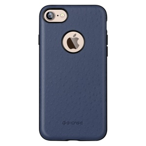 G-Case for iPhone 7 4.7 Ostrich Skin Leather Coated PC Shell Cover - Blue
