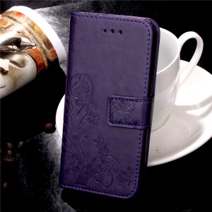 For iPhone 8 / 7 4.7 inch Imprint Flower Folio Wallet Leather Stand Case - Purple