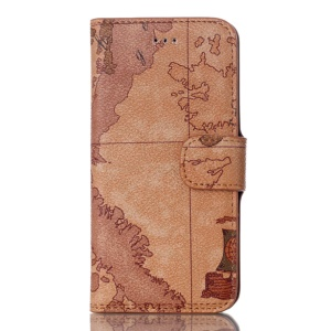 For iPhone 8 / 7 4.7 inch Map Pattern Stand Wallet Leather Phone Case - Brown