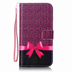 Patterned Wallet Leather Protective Shell for iPhone 7 Plus 5.5 - Leopard and Bowknot