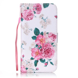 Patterned Wallet Leather Case with Wrist Strap for iPhone 7 Plus - Blooming Flower