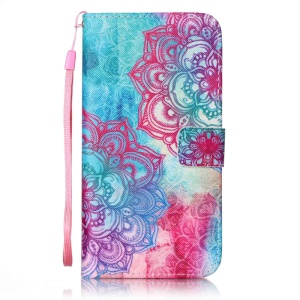 For iPhone 7 Plus 5.5 inch Patterned Wallet Leather Case with Lanyard - Mandala Flowers