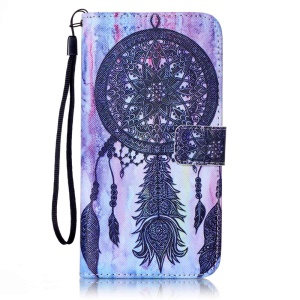 Leather Wallet Card Holder Case for iPhone 8 Plus / 7 Plus 5.5 inch - Tribal Dream Catcher