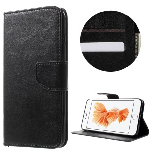 Solid Color Wallet Stand Leather Case for iPhone 8 Plus / 7 Plus 5.5 inch - Black