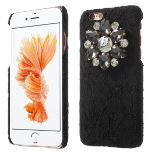 Sparkle Rhinestone Lace Coated PC Hard Case for iPhone 6s 6 4.7 inch - Black