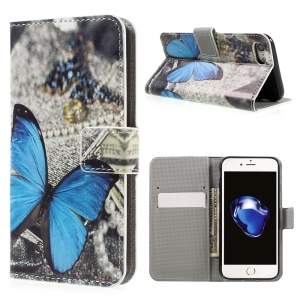 For iPhone 7 4.7 inch Wallet Leather Stand Case - Blue Butterfly