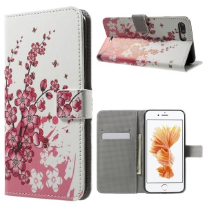 Magnetic Wallet Leather Stand Case for iPhone 8 Plus / 7 Plus 5.5 inch - Plum Blossom