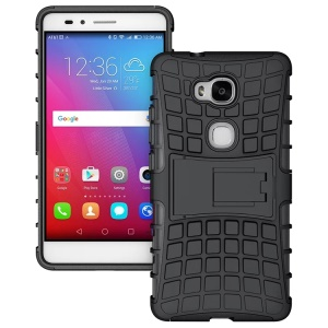 Tire Pattern Kickstand PC TPU Hybrid Case for Huawei Honor 5X GR5 / Play 5X - Black