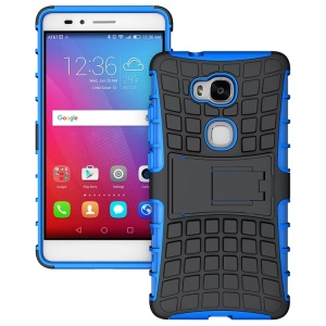 Kickstand Plastic TPU Hybrid Shell Case for Huawei Honor 5X GR5 / Play 5X - Blue