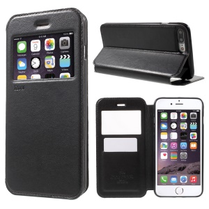 ROAR CORÉIA Noble Leather View Window Case para iPhone 8 Plus / 7 Plus 5.5 Inch - negro