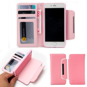 Litchi Skin Leather Wallet Case with Detachable TPU Cover for iPhone 8 / 7 4.7 inch - Pink