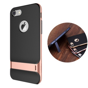 ROCK Royce Series for iPhone 8/7 4.7 Kickstand PC + TPU Back Case - Rose Gold