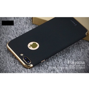 IPAKY 3-in-1 Electroplating Hard PC Case for iPhone 7 Plus - Black
