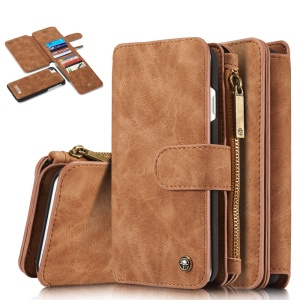 CASEME 14 Slots Wallet Detachable 2-in-1 PC Genuine Split Leather Cover for iPhone 8 / 7 4.7 - Brown