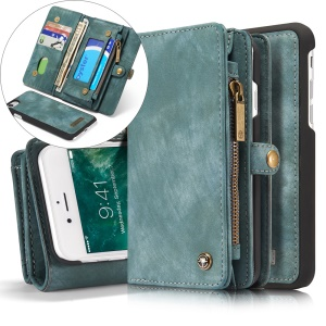 CASEME 2 em 1 PC Multi-slot Vintage Split Leather Wallet Case para iPhone 8 / 7 4.7 polegadas - azul