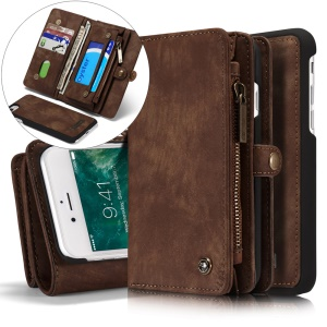 CASEME for iPhone 8 / 7 4.7 Multi-slot Wallet 2-in-1 PC Vintage Split Leather Shell Case - Brown