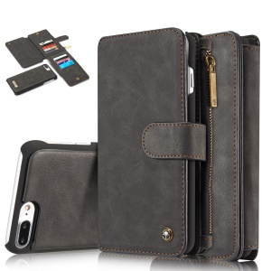 CASEME para iPhone 8 Plus / 7 Plus 14 Slots Wallet Destacável 2-em-1 PC Genuine Split Leather Case - negro