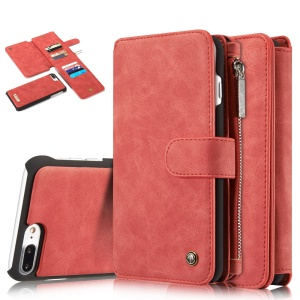 CASEME for iPhone 8 Plus / 7 Plus 14 Slots Wallet 2-in-1 Inner PC Cover Genuine Split Leather Shell - Red