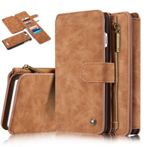 CASEME for iPhone 8 Plus / 7 Plus 2-in-1 Inner PC 14 Slots Genuine Split Leather Wallet Case - Brown