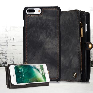 CASEME Für IPhone 8 Plus / 7 Plus 2-in-1-PC-Multi-Slot-Geldbörse Vintage Split Ledertasche - Grau