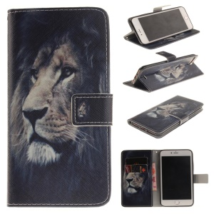 Wallet Leather Stand Cover for iPhone 7 Plus - Lion Pattern