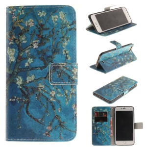 Wallet Leather Cover Case for iPhone 8 Plus / 7 Plus - Tree with Flowers