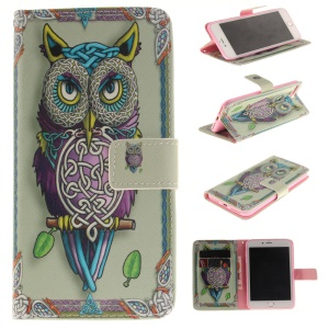 Phone Leather Stand Case for iPhone 7 Plus - Adorable Owl