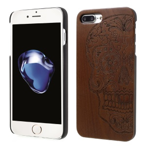 Pattern Carved Real Wood Skin PC Hard Case for iPhone 8 Plus / 7 Plus - Flowered Skull